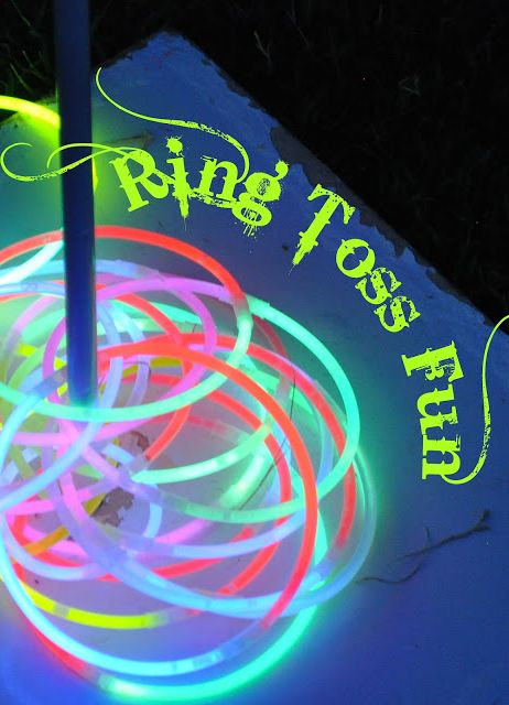 Glowing ring toss game for