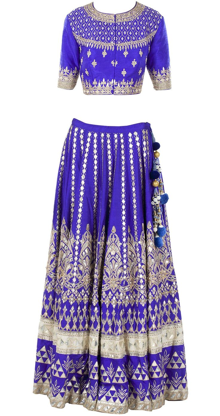 Blue gota pati embroidered lehenga set by ANITA DONGRE