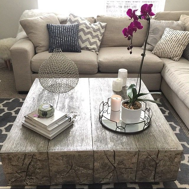 Coffee table envy: our Timber Coffee Table is cast from reclaimed oak beams and gets its silver luster from hand-applied silver leaf.  Photo via @Mary Krolicki. Click to shop
