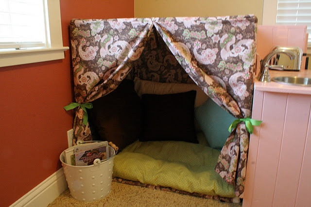 A Reading Nook Or Take Apart Fort Made With A Pvc Frame