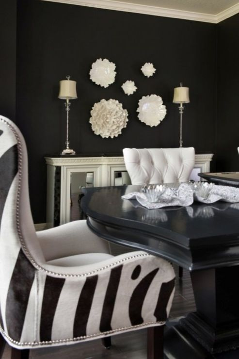 black and white dining room decor   My Web Value Suzie  Ramsey Interiors   Beautiful black dining room with bold black walls  paint color