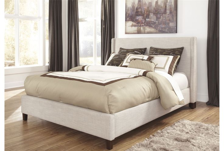 Hillary Queen Upholstered Panel Bed We Cream And Padded