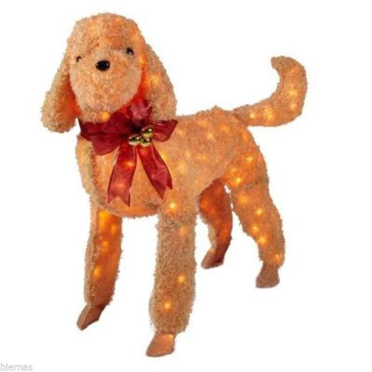 NEW 42 In Brown Tinsel Lighted Dog SOFT LIKE FUR