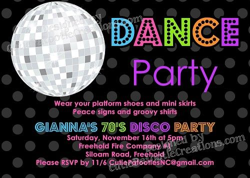 70s 80s 90s Disco Dance Party Invitations BIRTHDAY PARTY