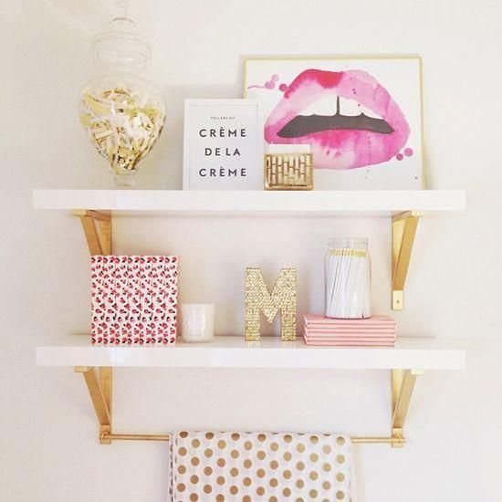 30 Ways to Make Every Room in Your House Prettier – girly pink + gold decorative objects #shelfie