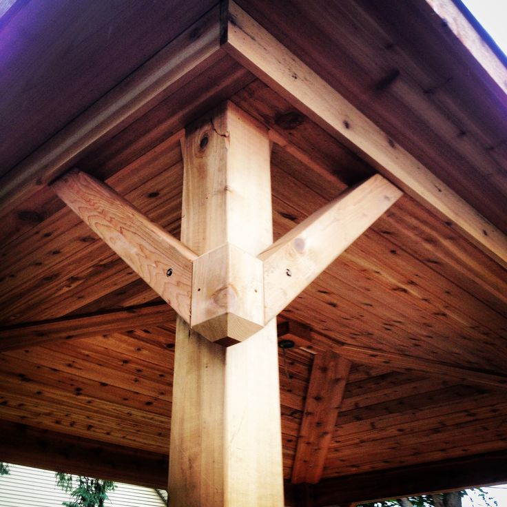 Covered Porch Gusset Design Pergola Tongue And Groove