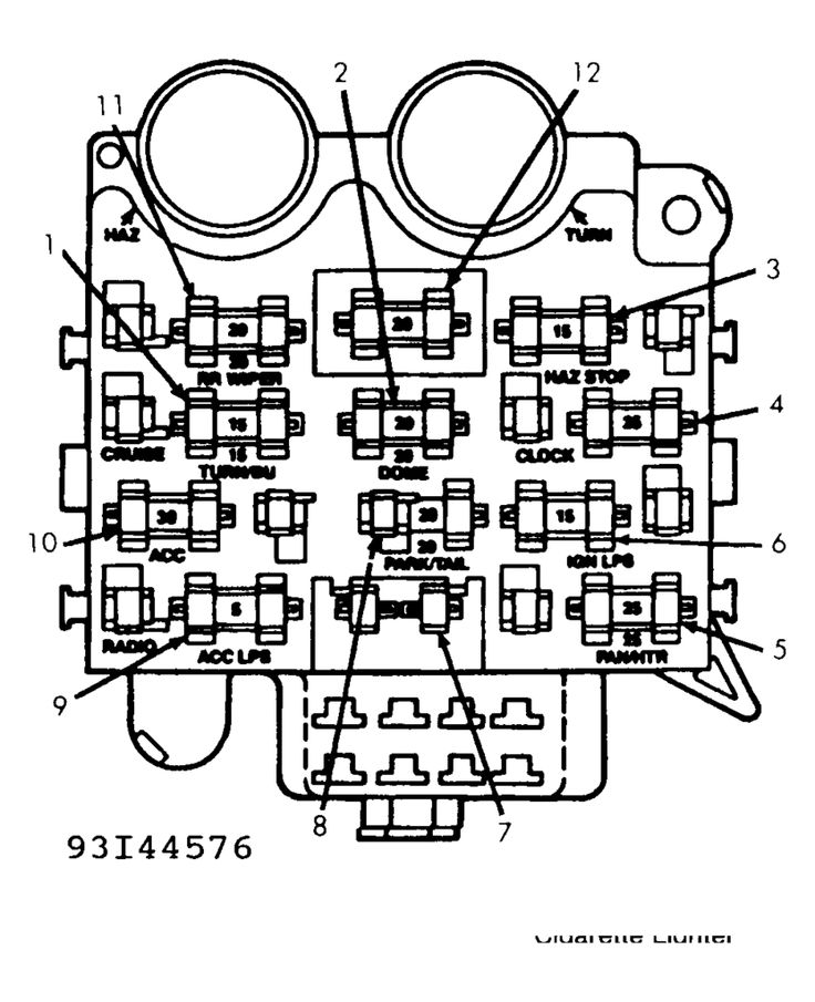 Diagram 1995 Jeep Wrangler Fuse Panel Diagram 89 212 19 Pro