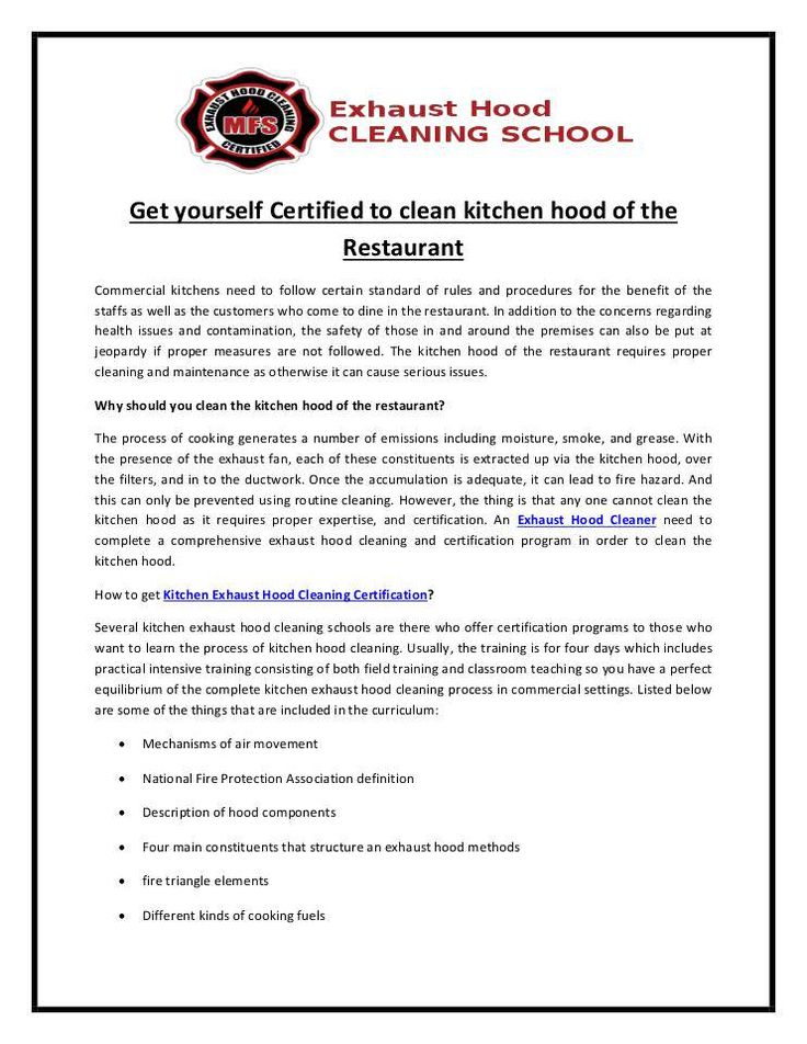 Commercial Kitchen Cleaning Certification