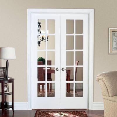 48 Inch Wide Interior French Door Masonite Smooth 10 Lite