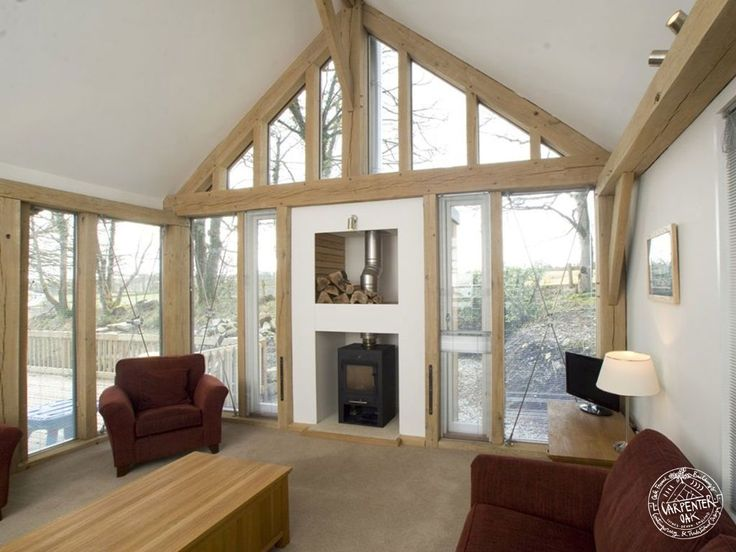 Living Room Interior With Exposed Timber Frame And Glazed