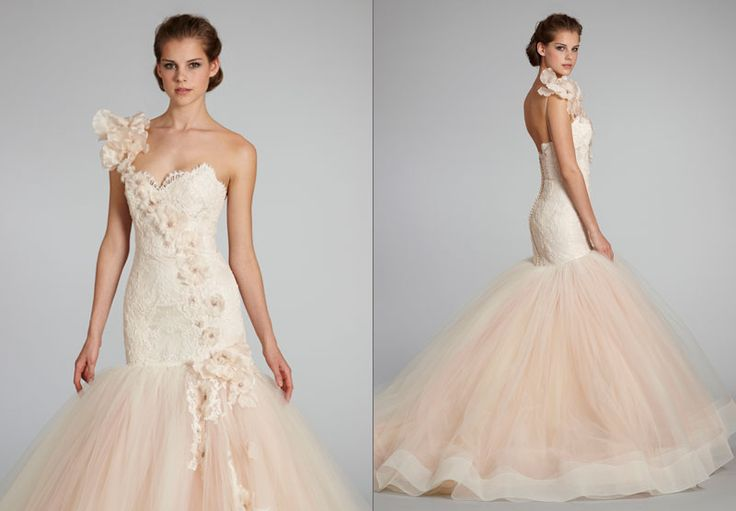 Dramatic Long Blush Lazaro Textured Lace And Tulle Mermaid