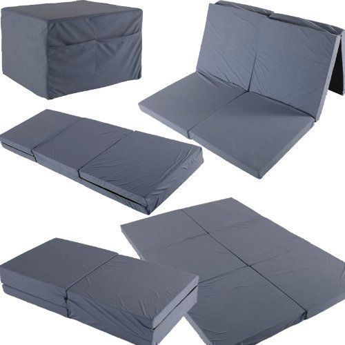 Twin Double Foldable Mattress 192x128x7cm Guest Travel Spare Bed With Pockets Grey