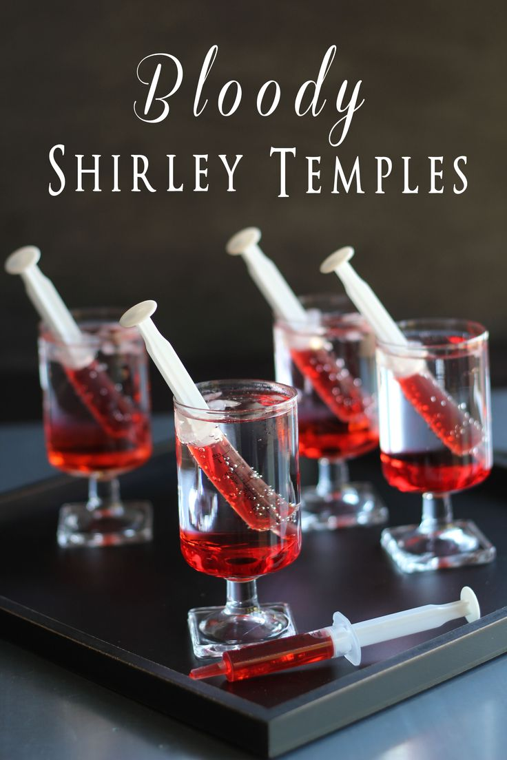 Bloody Shirley Temples – A cute, creepy, easy Halloween drink… and its non-alc
