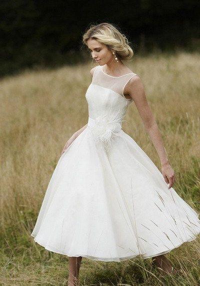 50's Vintage inspired tea length wedding dress–Make to measurement. $155.00, via Etsy. Yes but longer