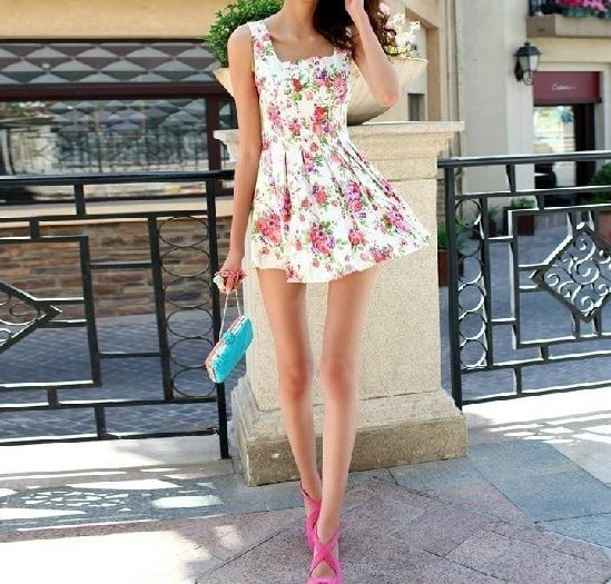 Flowers Printed Pleated Square Dress – Casual …