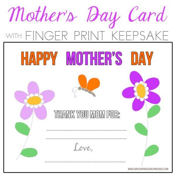 Preschool Mother's Day Fingerprint Card (flowers ...