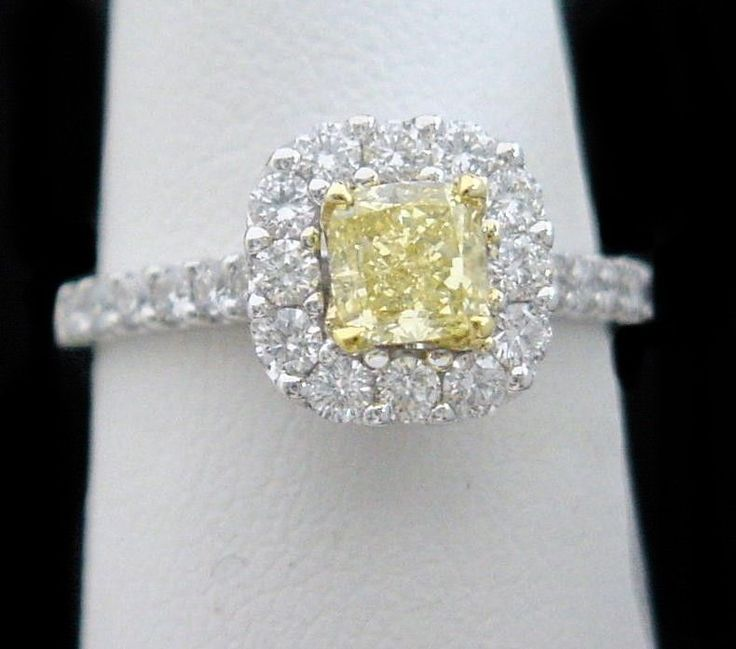 Canary Yellow Diamond Halo Engagement Ring 150CT Cushion