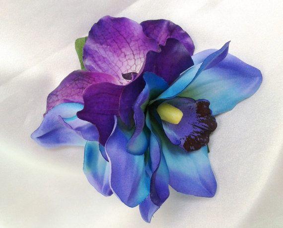 TROPICAL HAIR CLIP Hawaiian Orchids Maui Blue Purple