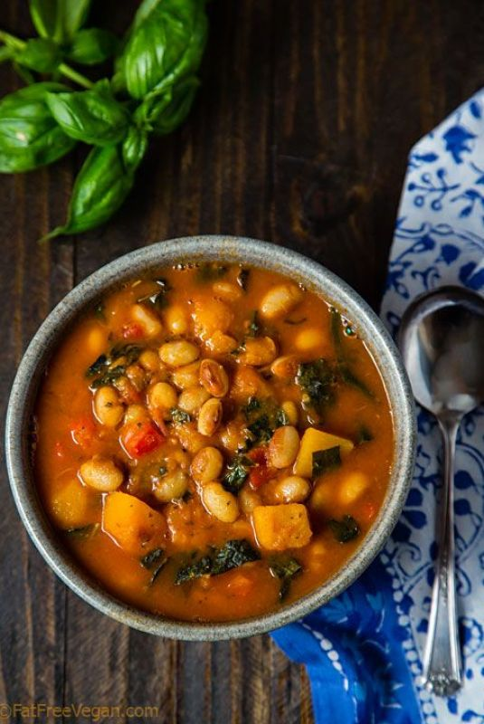 White Bean Stew with Winter Squash & Kale