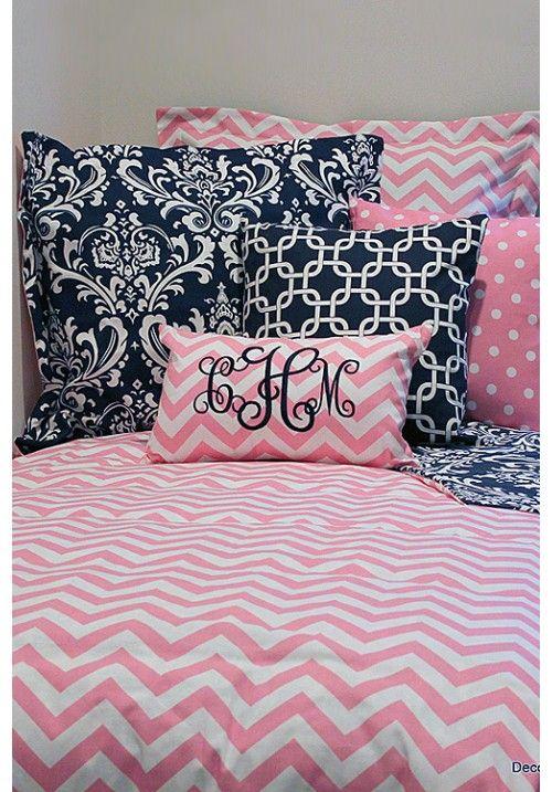Pink Amp White Chevron Designer Teen Amp Dorm Bed In A Bag