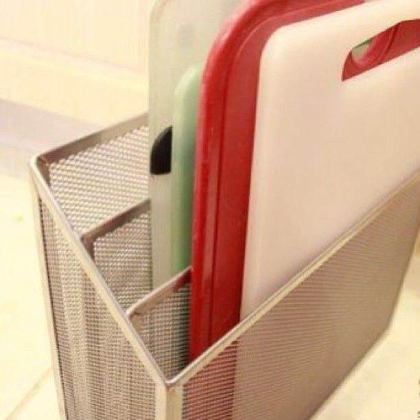 Organizing cutting boards with file organizer! #diy #organize #kitchen #homeorga