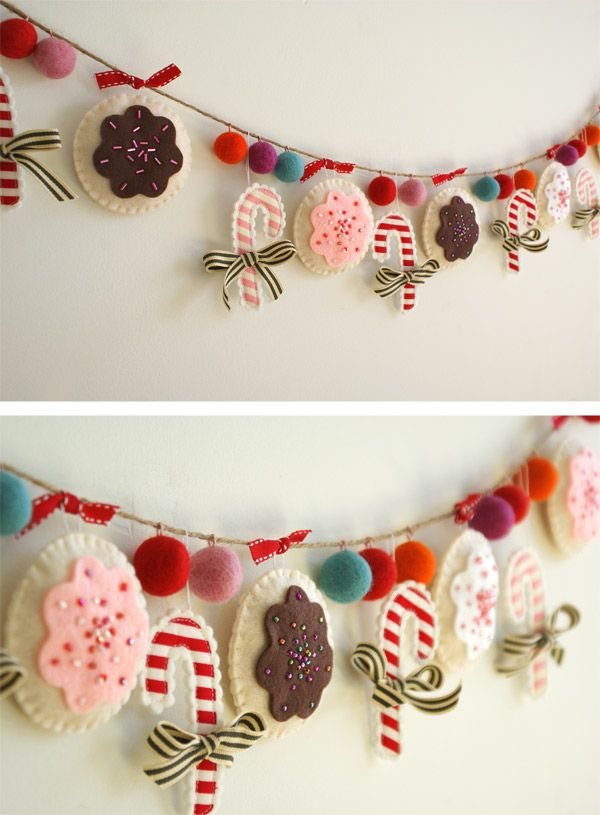 Create this DIY Christmas garland. This Christmas sewing craft will be a wonderful handmade Christmas decoration.: