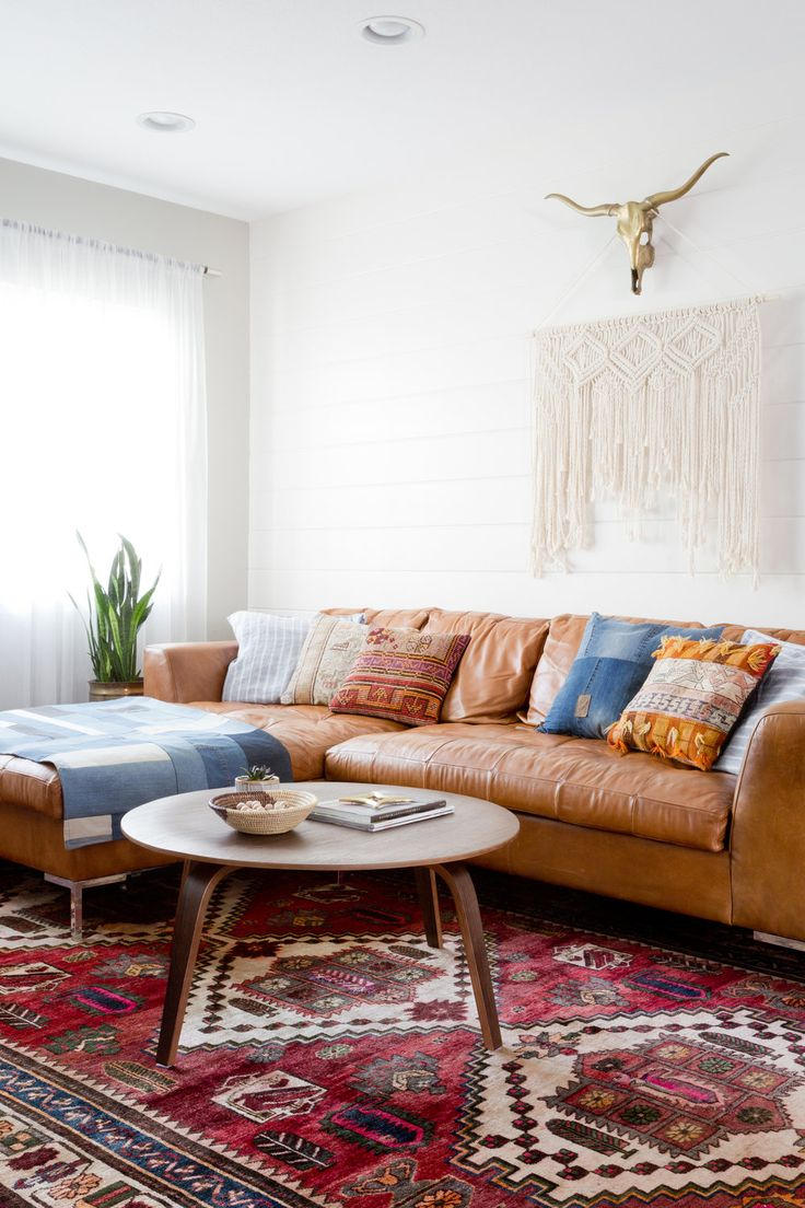 Living Room Vintage Rug Leather Sectional Leather Sofa