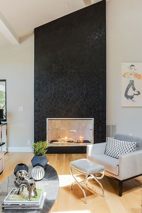Stenciled Modern Masters Venetian Plaster On Fireplace