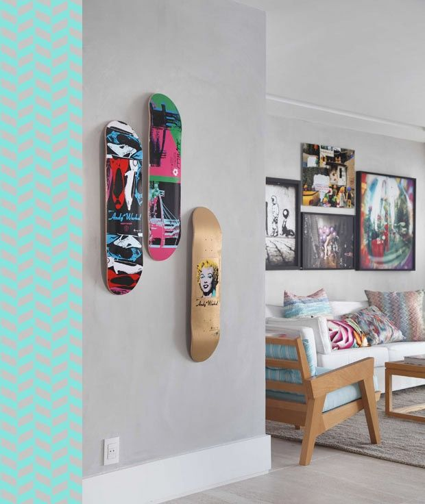 Ideas Wall Decorations For Redoing A Boys Room Skateboard