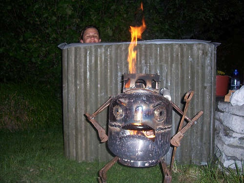 Homemade Hot Tub Guarded By Water Heater Monster Hearth Pinterest Homemade Hot Tubs And