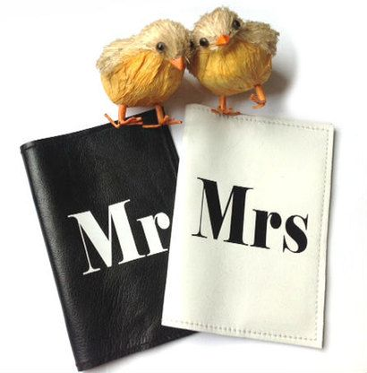 Mr and Mrs Personalized Leather Passport Cover in contrasting color combinations.