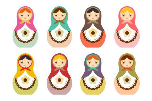 Matryoshka Russian Doll Clip Art Graphics