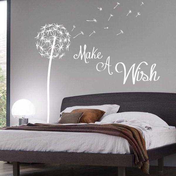 Make A Wish Dandelion Quote Wall Sticker Fl Pretty Seed Stems