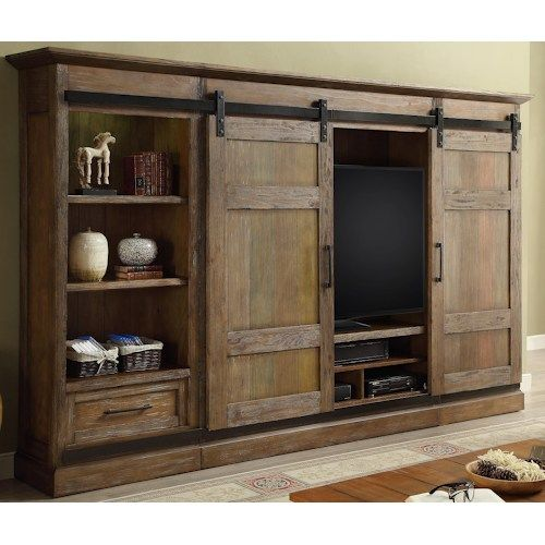 Hunts Point 4pc Entertainment Wall With Sliding Doors By