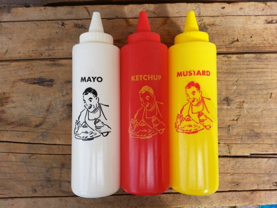 Ketchup Mustard And Mayo Plastic Squeeze Bottles Vintage
