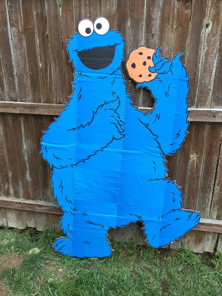 Cookie Monster Cardboard Cutout For Sesame Street Birthday Party Sesame Street Party Ideas