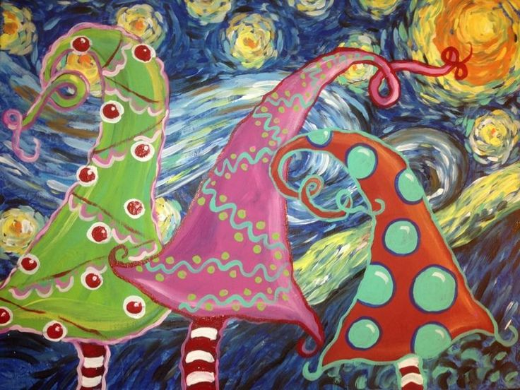 Van Goghs Starry Night Meets Dr Seuss Whimsical Trees