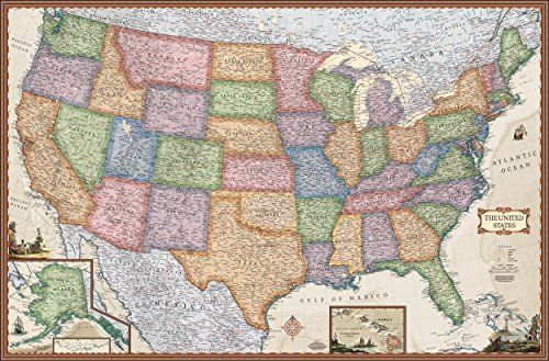 antique style united states wall map wall map laminated on laminated wall maps id=48831
