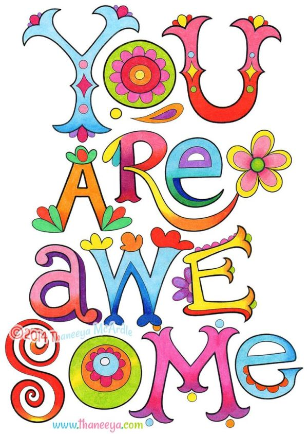 You Are Awesome Coloring Page from Thaneeya McArdles