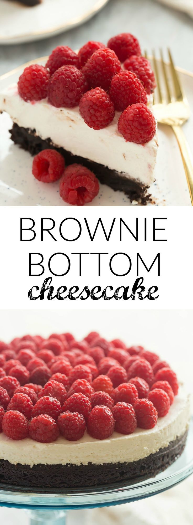 This Brownie Bottom Cheesecake is made with a fudgy, brownie base, a silky smooth no bake cheesecake and topped with piles of
