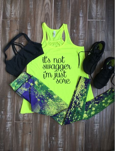 Paint Splatter Leggings with It's Not Swagger I'm Just Sore shirt – Cute fitness outfits and clothes for girls and women