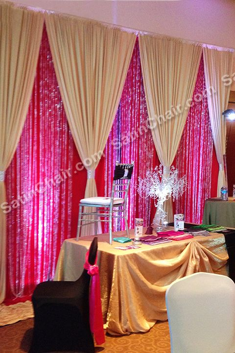 Gold On Red Beaded Backdrop Gold Luxury Linens Wedding And Event Rental