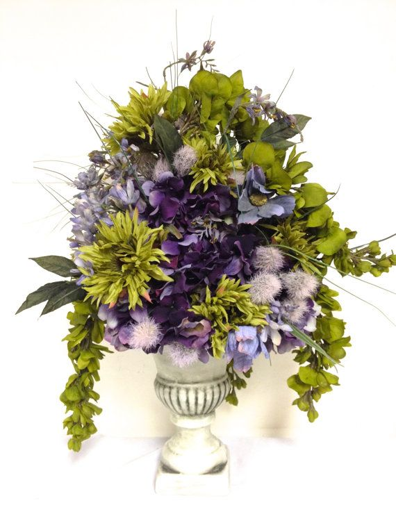 Tuscan Style Silk Floral Mix Arrangement Sage Green Plum