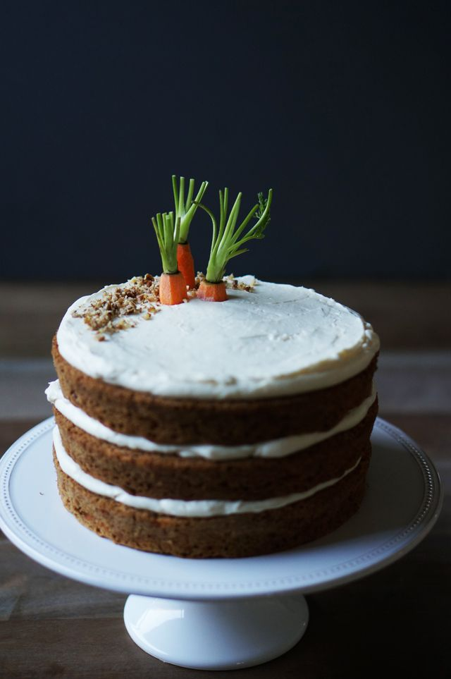 Carrot Cake with Ginger Cream Cheese Frosting – Love the carrots sticking out of the 'proverbial' ground instead flat on top.