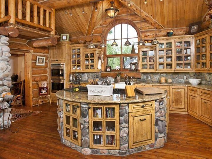 Log Cabin Round Kitchen Island.