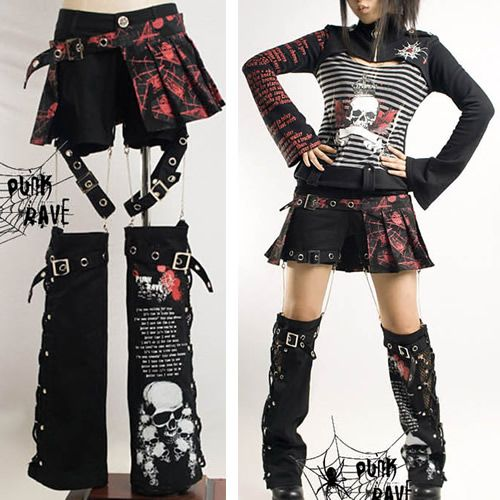 I AM IN LOVE WITH THIS! 3 Piece Punk Rave Emo Scene Fashion Clothing Shorts  Leg