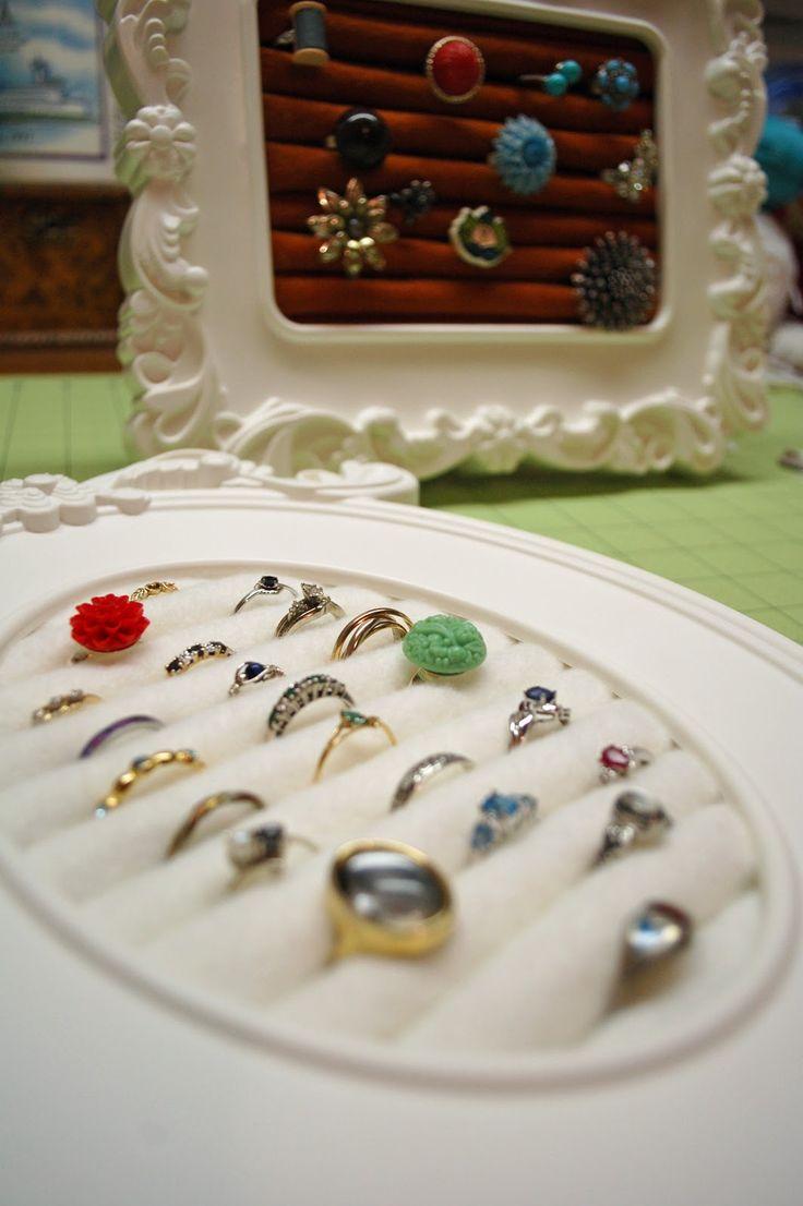 Inexpensive ring display.