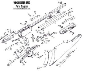 Winchester Model 1890 Schematic | Parts Diagram  Winchester 1890 Homestead Parts for antique