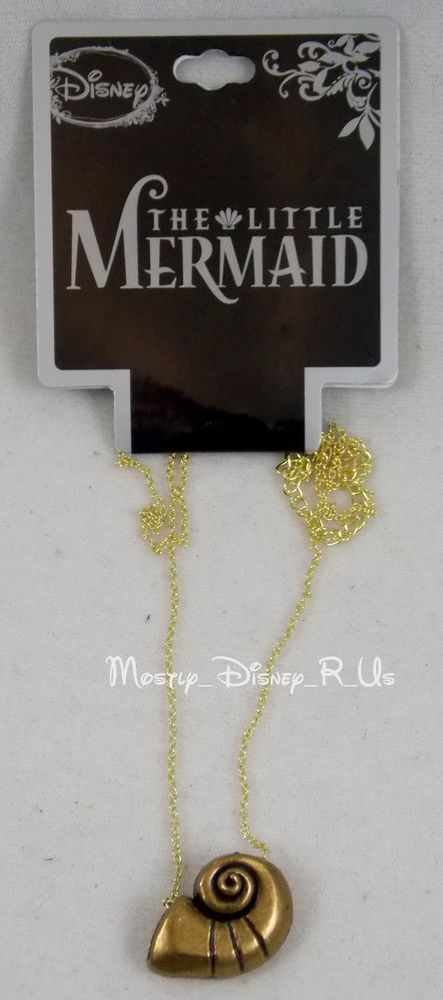 Disney The Little Mermaid Ariel s Conch Shell Pendant Necklace Gold Toned Ursula