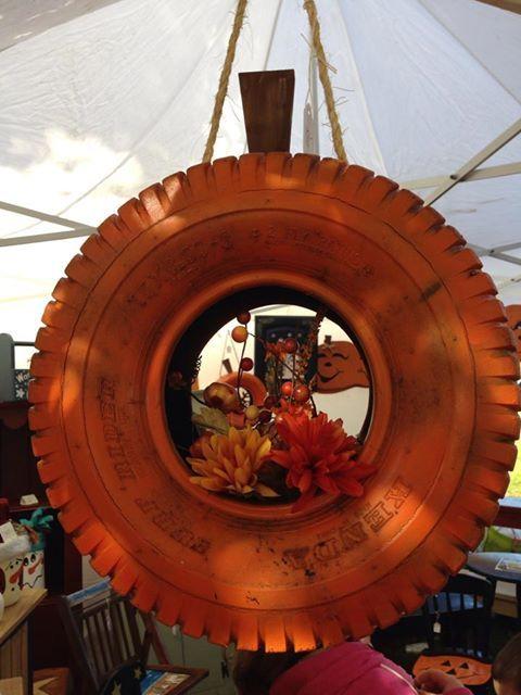 Tire Pumpkin Wreath Tires Pinterest Wreaths